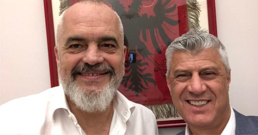 """FOTOLAJM – """"Pas një bashkëbisedimi si gjithnjë vëllazëror"""", Rama takohet me Presidentin Thaçi dhe publikon selfie-n"""
